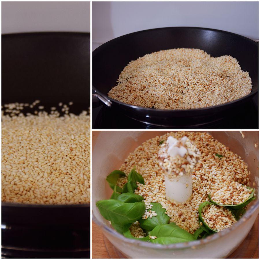 Gurken-Nudeln mit Champignon-Pesto