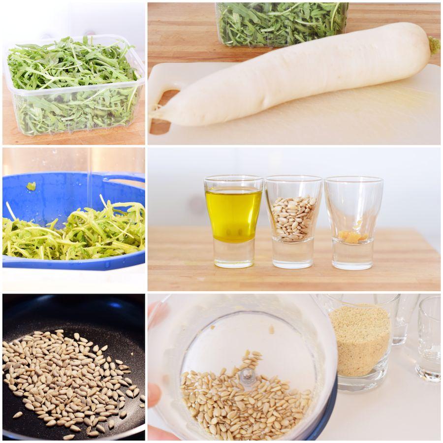 """Rettich-Nudeln mit Rucola-Pesto & """"Parmesan"""""""